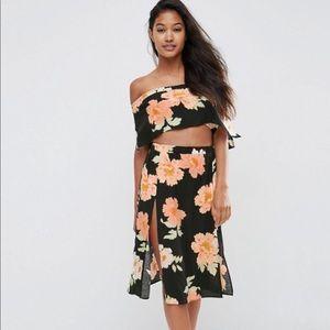 Women's Asos Floral Tube Top and Midi Skirt Set